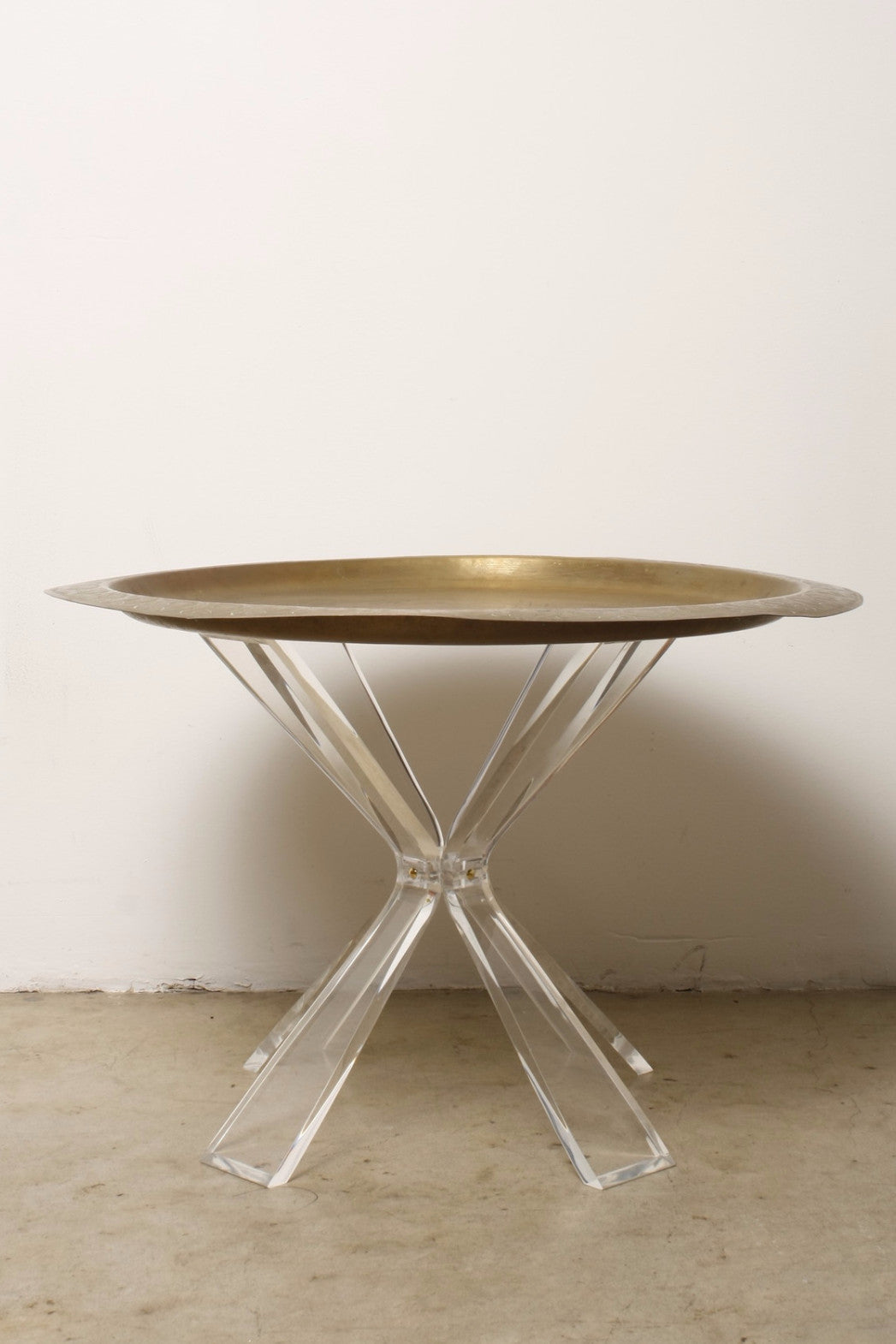 Lucite Table Base with Antique 30 Moroccan Tea Tray CLC by Corey