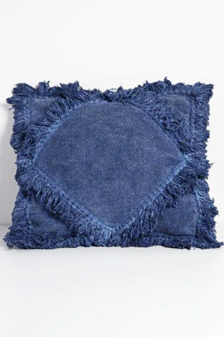 Handwoven Fringed Double Diamond Pillow Indigo