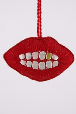 Embroidered Lips Ornament