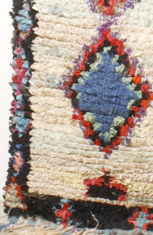 Vintage Large Moroccan Boucherouette Rug - 7'x 4.5'