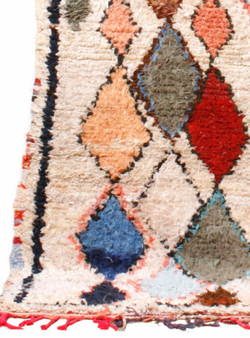 Vintage Large Moroccan Boucherouette Rug - 8'x 5'