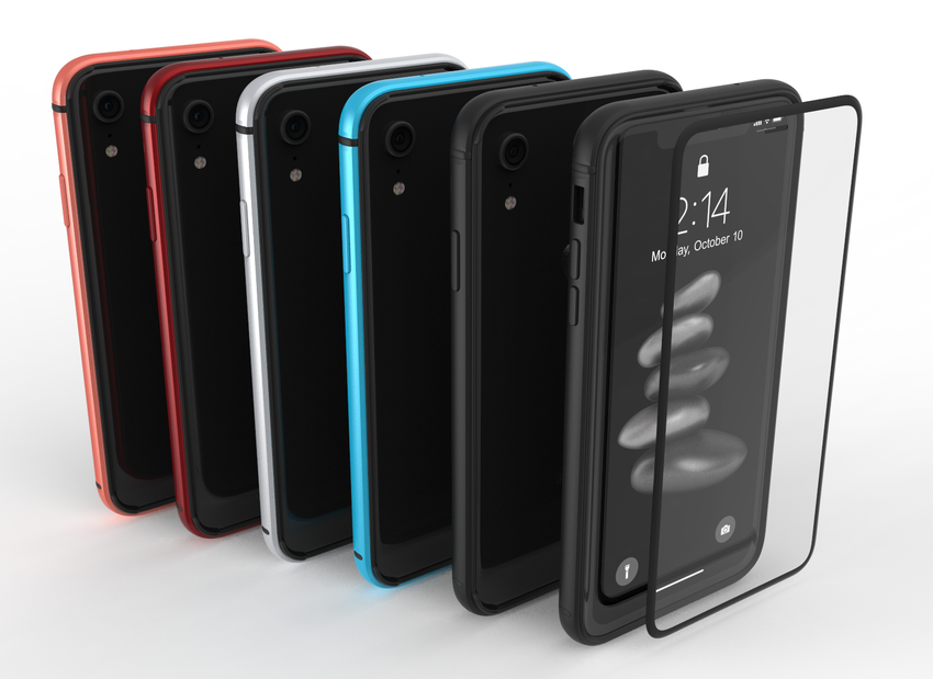 METAL BUMPER and GLASS for iPhone XR