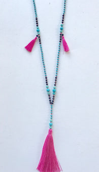 Turquoise Bead & Hot Pink Tassel Necklace