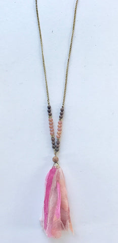 Pink Bead & Fabric Tassel Necklace
