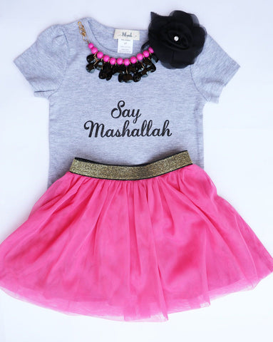 Say Mashallah T-shirt & Tutu Skirt- Girls (2t-8) - Hilwah