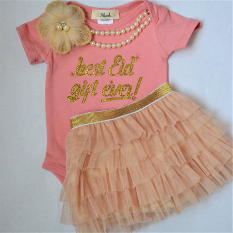 """Best Eid Gift Ever"" Onesie & Tutu set -Baby Girl - Hilwah"