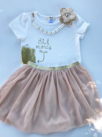 """Eid Money Please"" T-shirt & Skirt set- Girls (2T-8) - Hilwah"