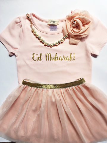 """Eid Mubarak"" T-shirt & Skirt set- Girls"