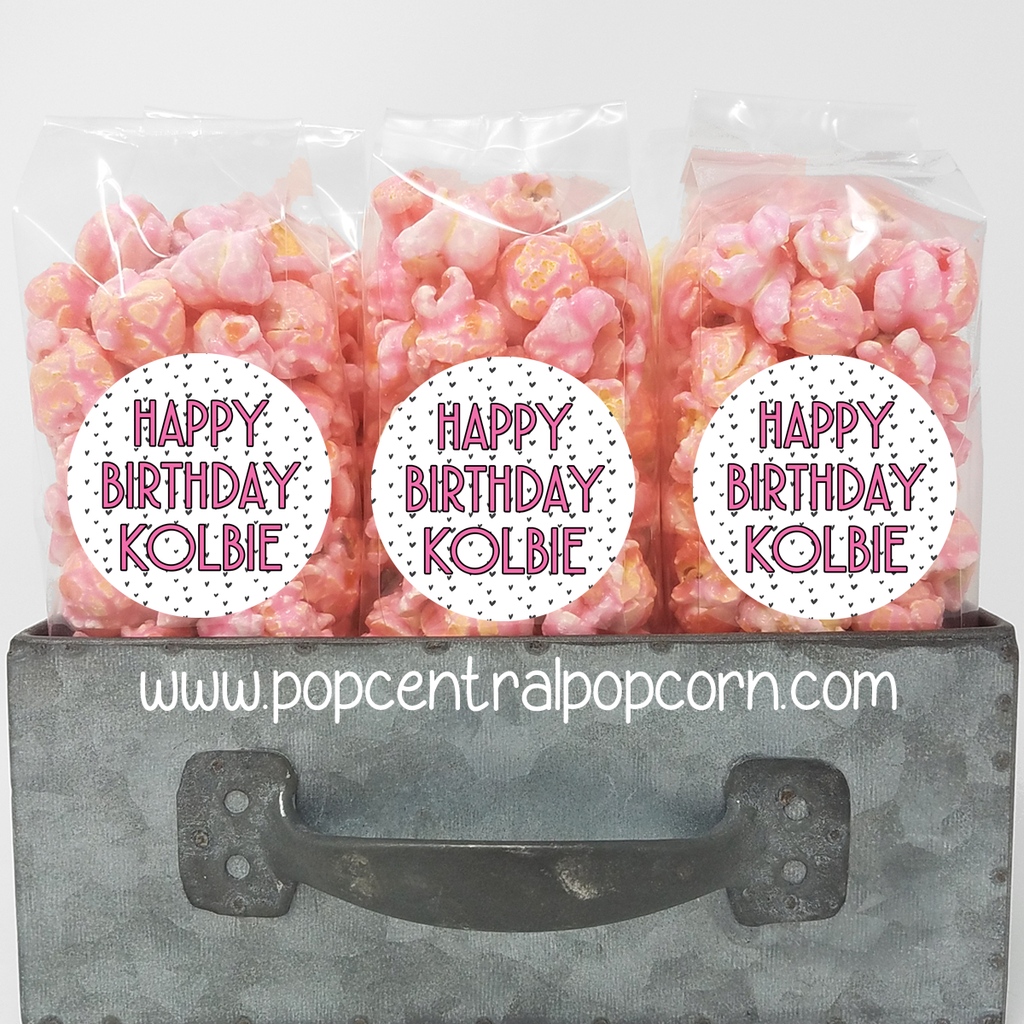 Pink Popcorn Party Favors with personalized labels