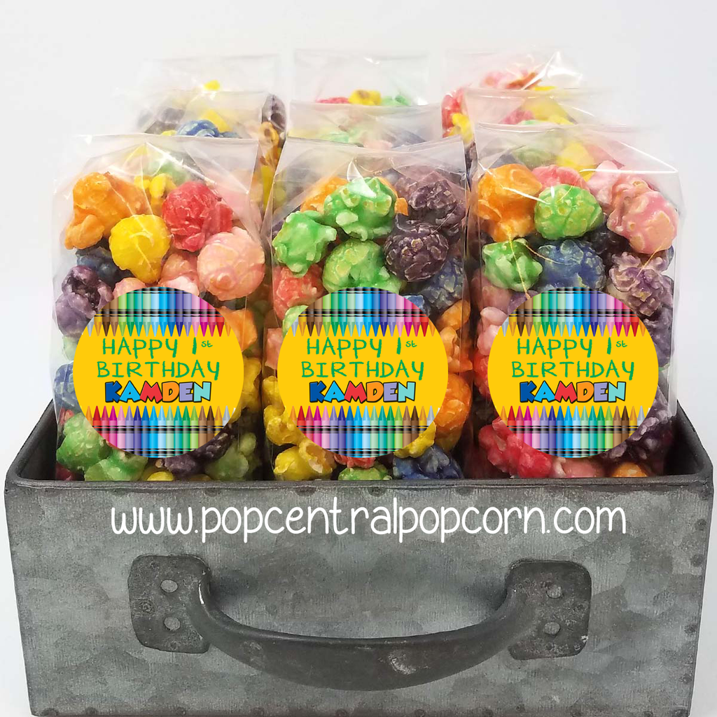 Crayon Color Birthday - Popcorn Party Favor Bags