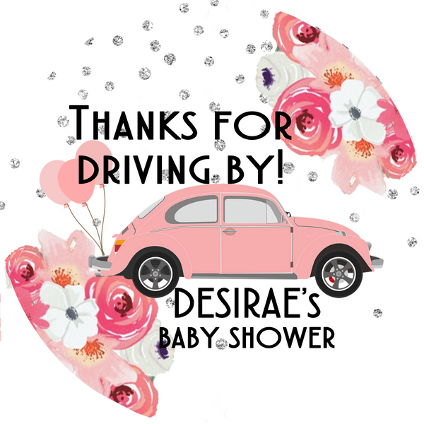Drive By Baby Shower Popcorn Favors - Pink Beetle