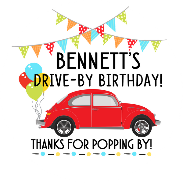 Drive By Birthday Party with Red Beetle - Popcorn Favors