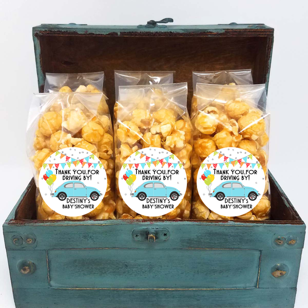 Drive By Baby Shower Popcorn Favors - Blue Beetle
