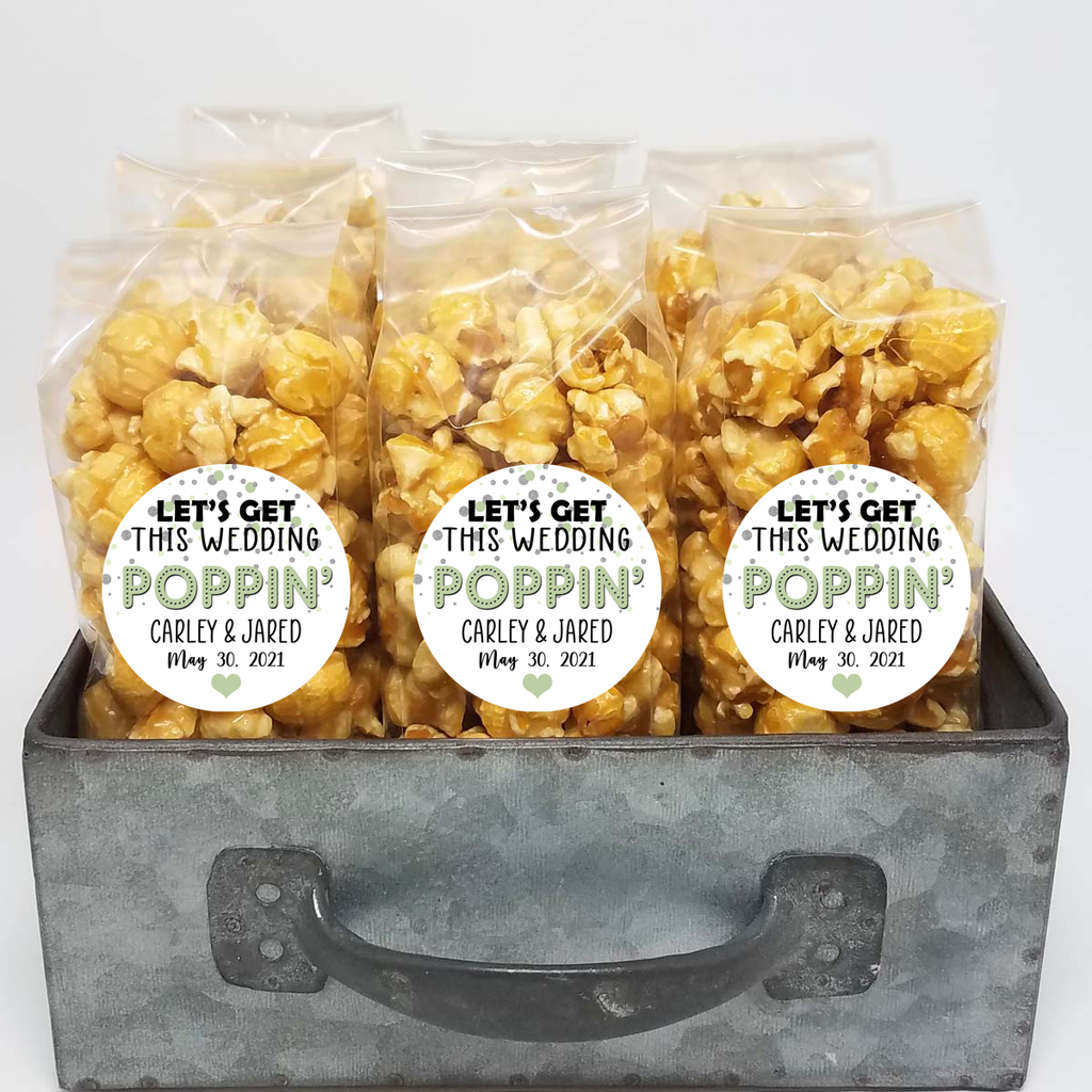 """Get this Wedding Poppin"" Sage and Silver - Wedding Popcorn Favors"