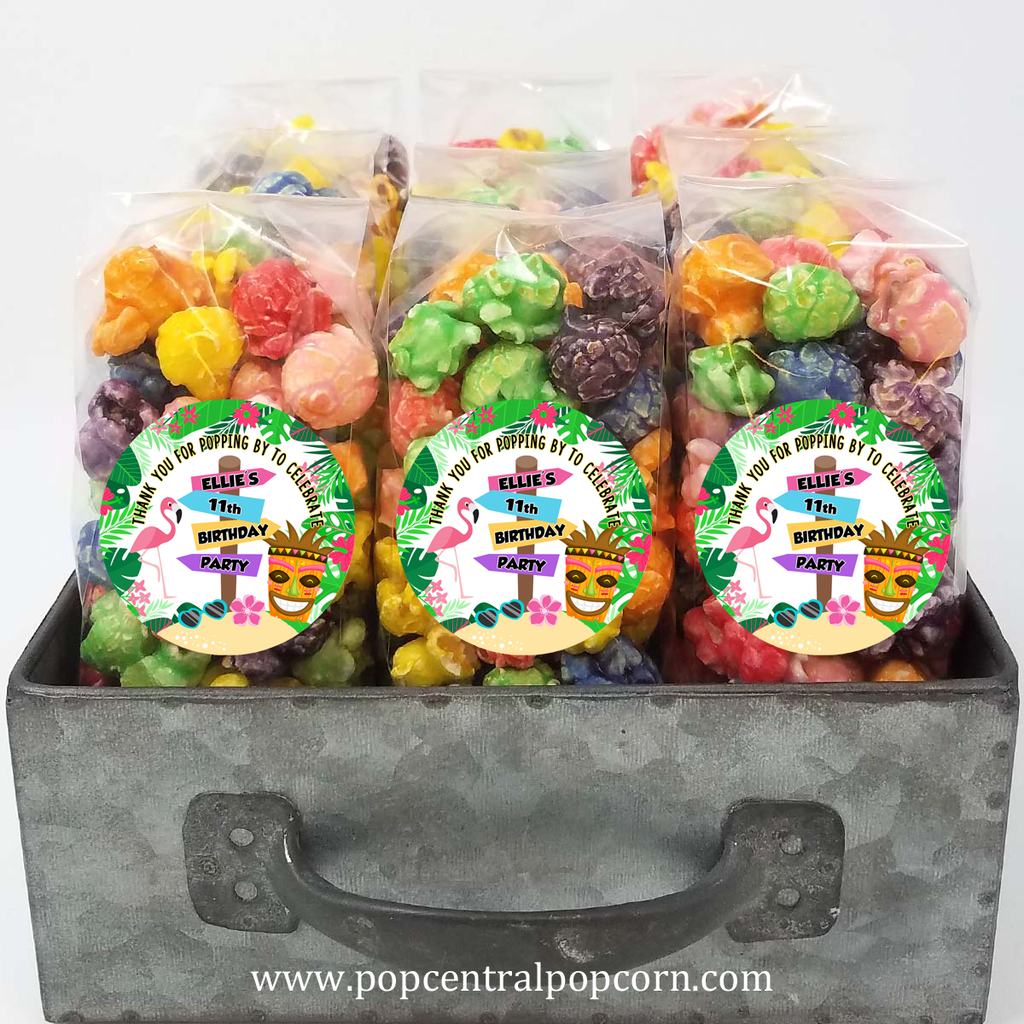 Luau Birthday Popcorn Favor Bags