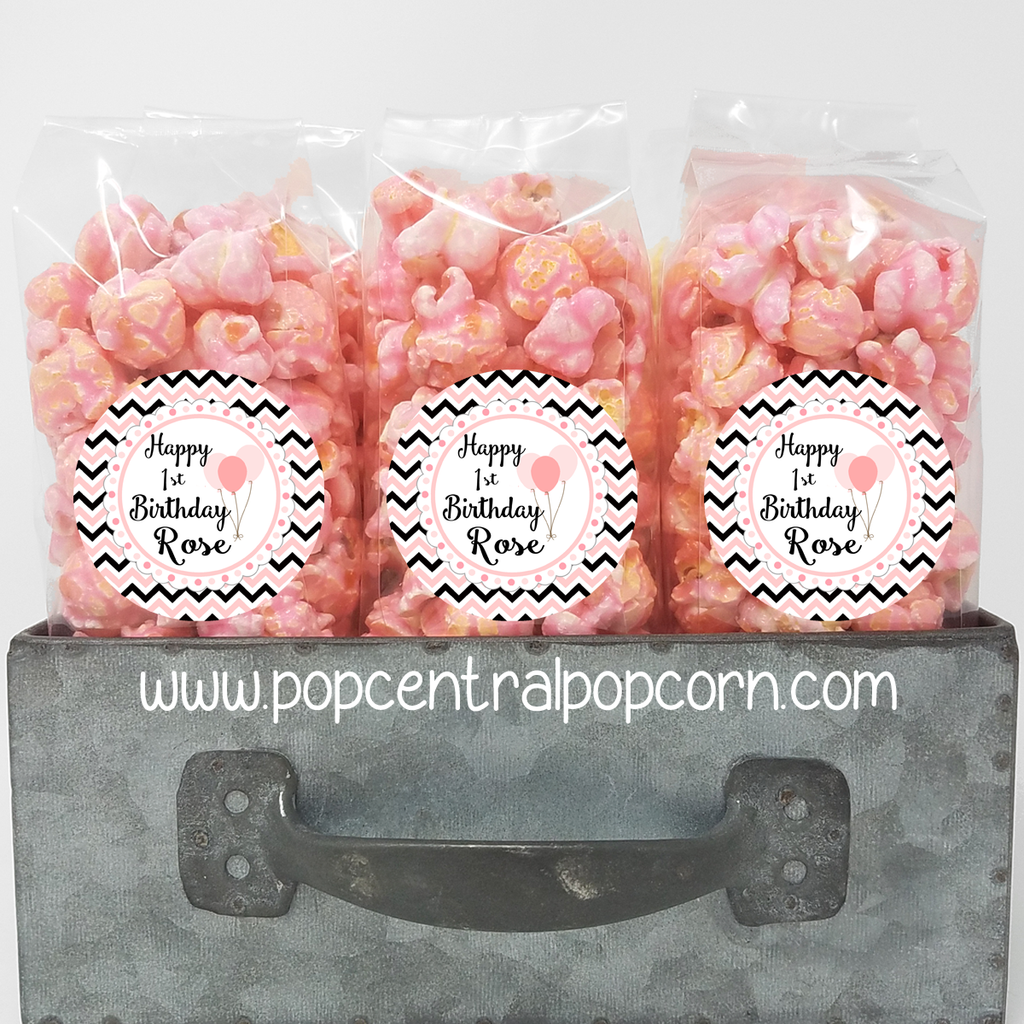 Pink and Black Birthday Popcorn Bags