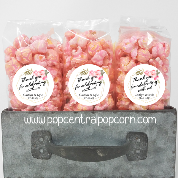 Pink Floral and Gold Frame - Wedding Popcorn Favors