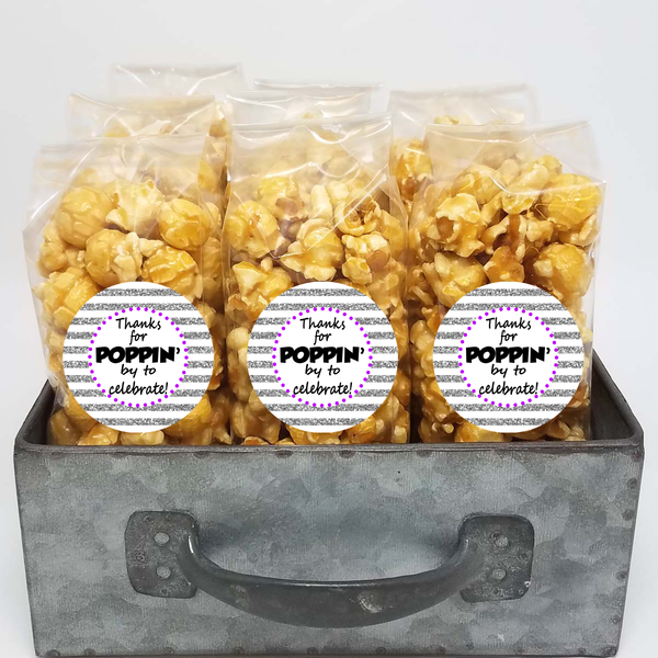 Silver Glitter Thank You - Favor Size Popcorn Bags