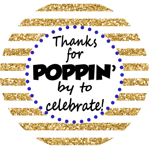 Gold Glitter Thank You - Favor Size Popcorn Bags