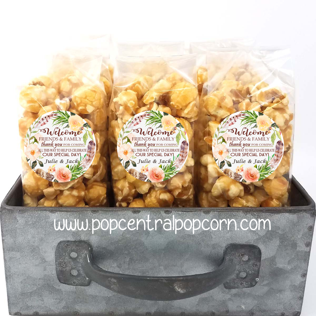 Floral and Feathers - Welcome Wedding Popcorn Favors