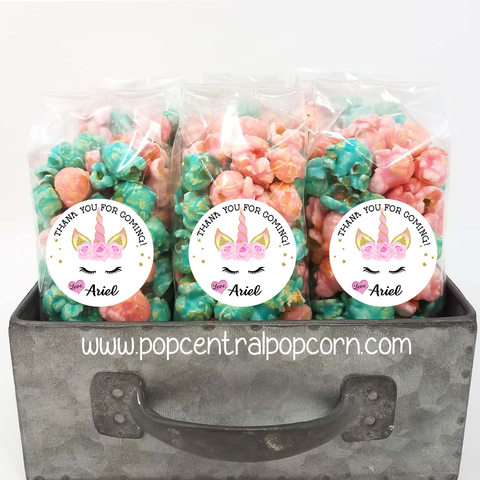 Unicorn with Lashes - Popcorn Party Favor Bags