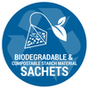 badge conveying biodegradable sachets