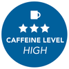 badge indicating high caffeine level