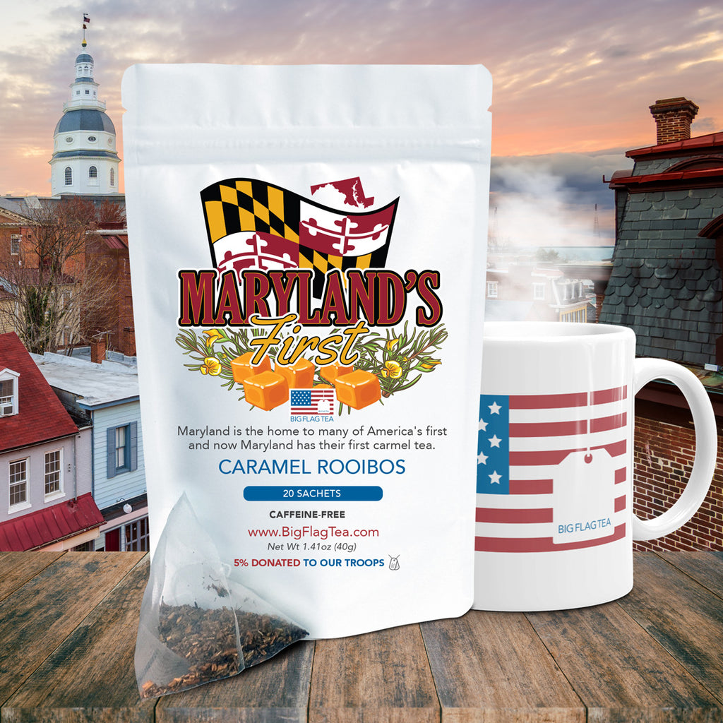 Maryland's First Packet of tea and Big Flag Tea mug