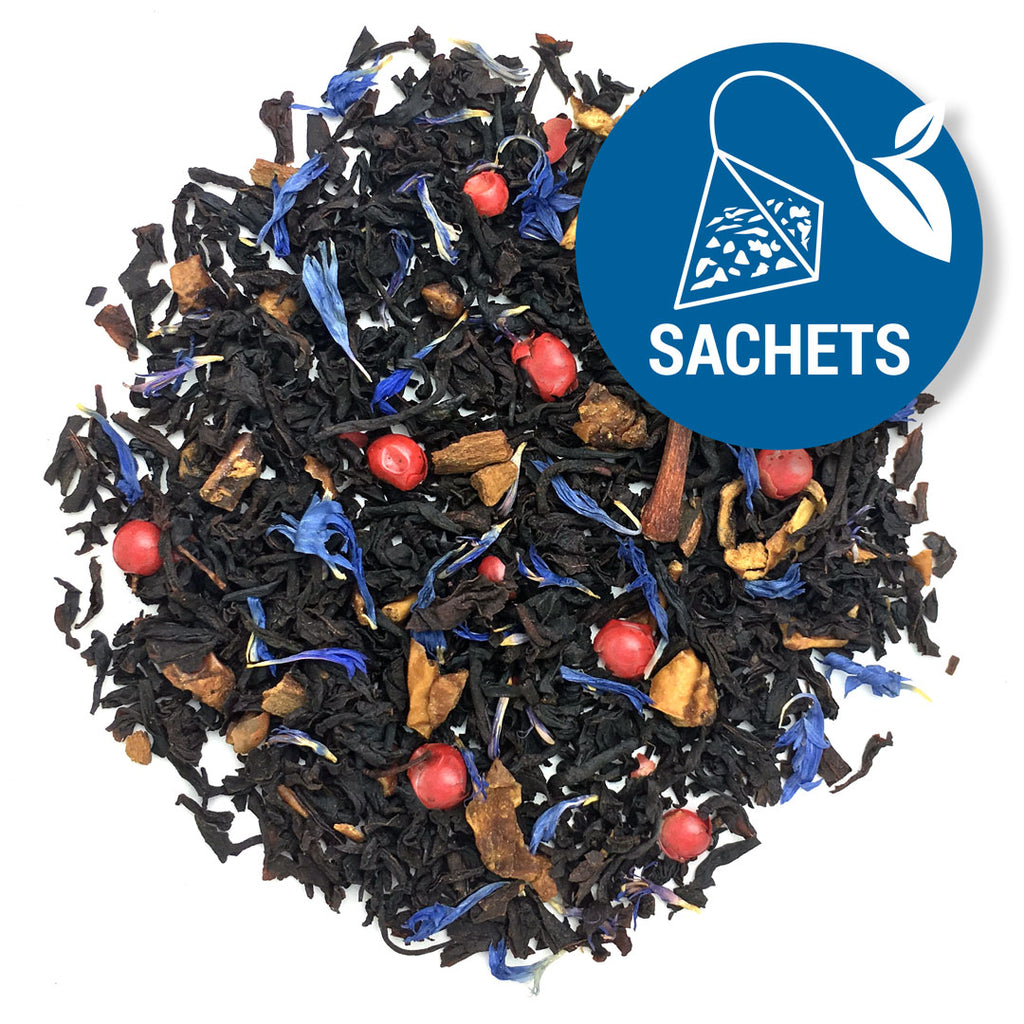 Stars & Stripes- American Tea Blend Pile of loose leaf tea with bits of red peppercorns and blue cornflower