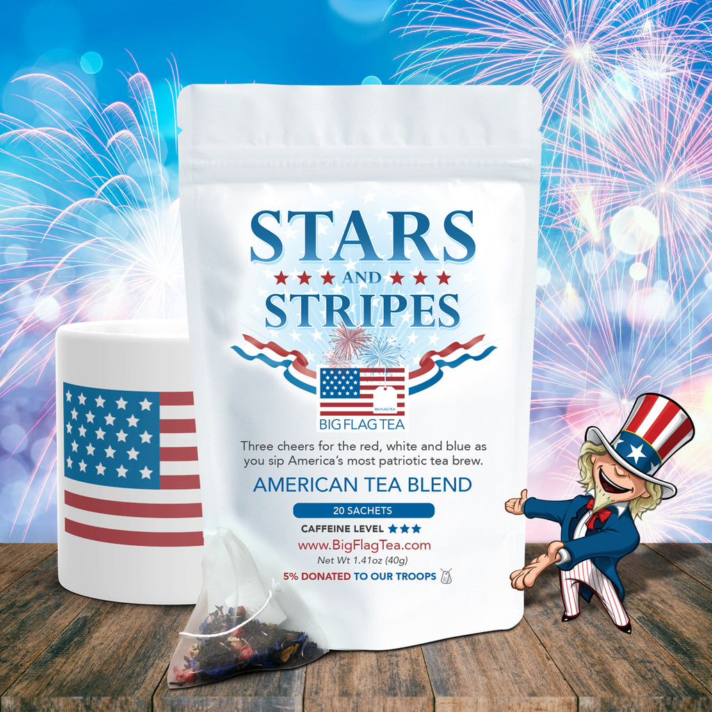 American Tea Blend - Stars & Stripes pouch with tea mug