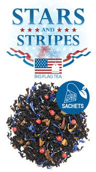 Stars & Stripes tea logo with a pile of loose leaf tea with bits of red peppercorns and blue cornflower