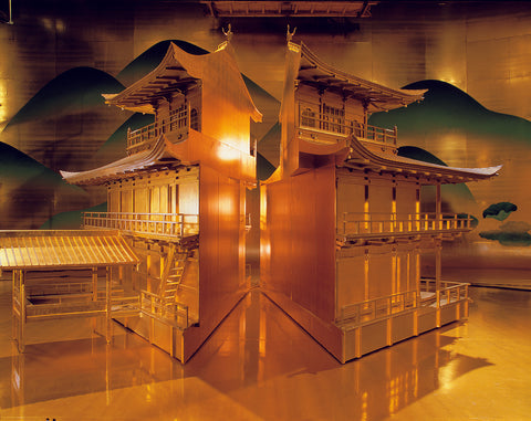 """Kinkaku-ji temple, cut in half in 1985 movie """"Mishima -- A Life in Four Chapters."""" The movie directed by Paul Schrader, featuring the life of the iconic writer Yukio Mishima. Production design by shioka."""