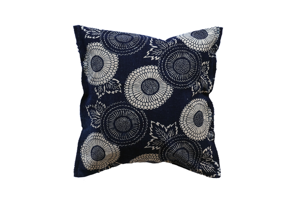 "Katazome Decorative Pillow -chrysanthemum- (12 x 12"")"