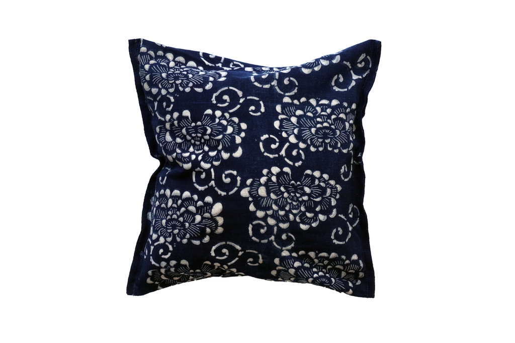 "Katazome Decorative Pillow - Peony -  (12 x 12"")"
