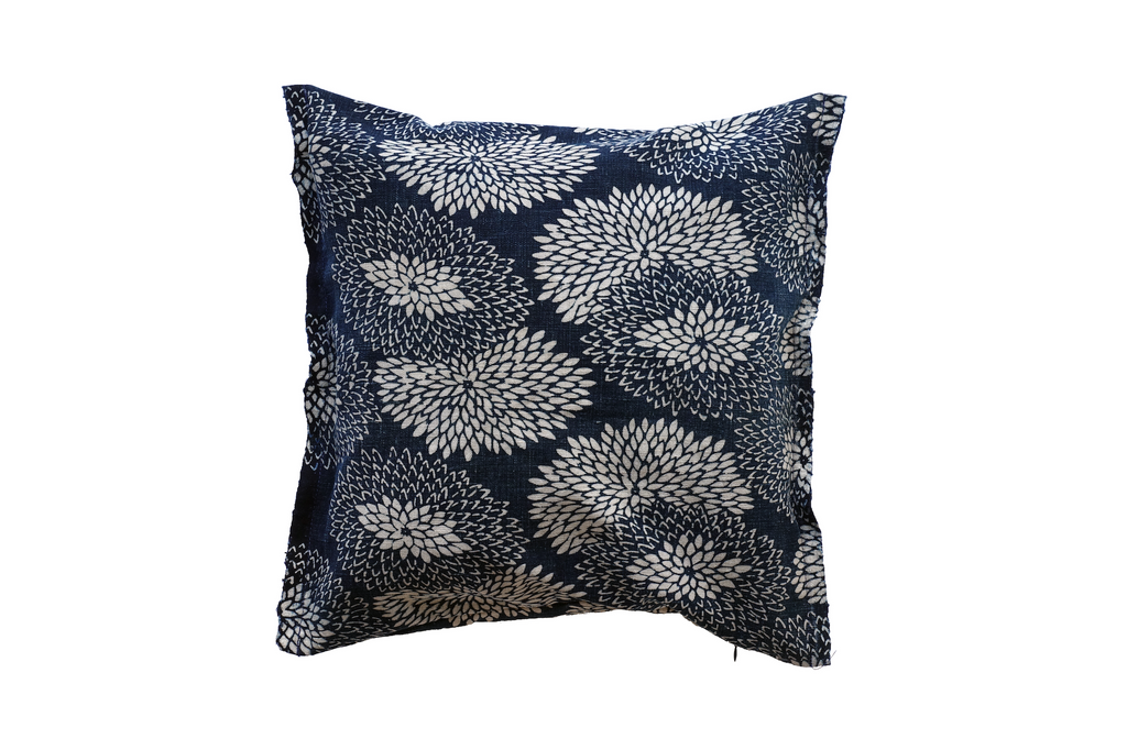 "Katazome Decorative Pillow - chrysanthemum -  (12 x 12"")"