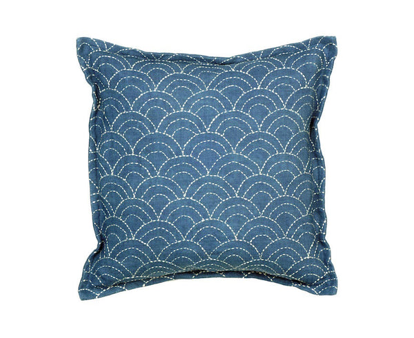 Sashiko Pillow - NAMI - (Indigo x Logwood)