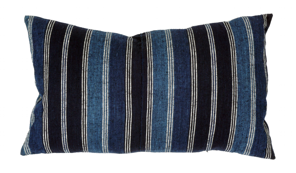 Stripe Indigo Pillow 24 x 14""
