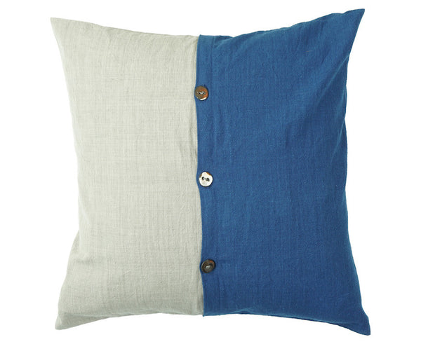 "Ceramic Button Pillows 18 x 18"" (Indigo x Sumi)"