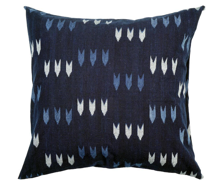 Bingo Kasuri Pillow - Indigo Arrows - 18 x 18""