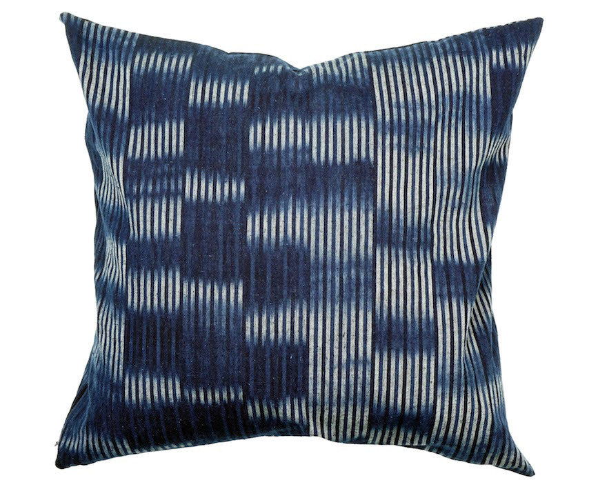 Bingo Kasuri Pillow - Random Indigo Stripes - 18 x 18""