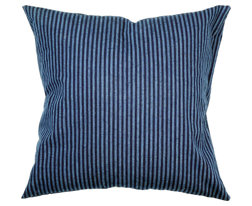 Bingo Kasuri Pillow - Indigo Stripe - 18 x 18""
