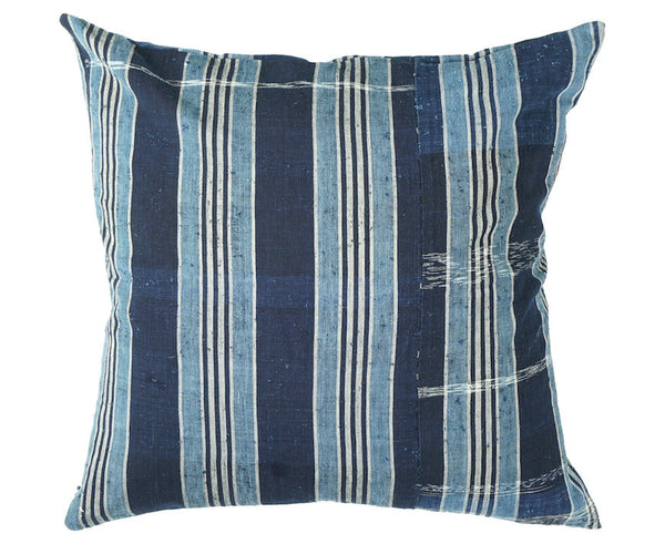 Unique Indigo Stripe Pillow 18 x 18""