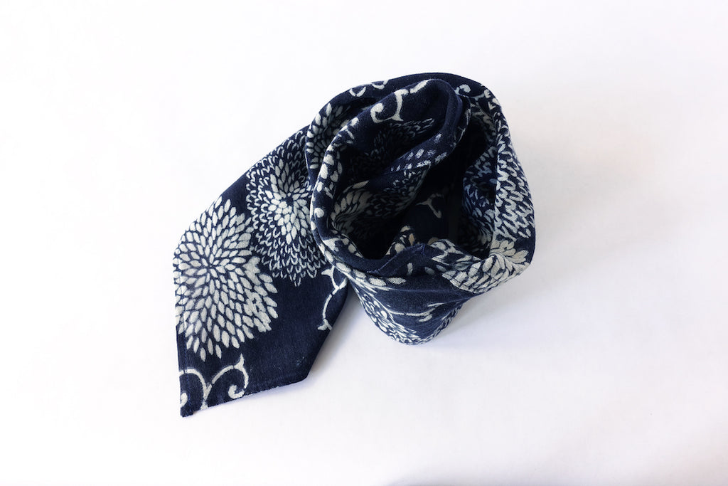 Katazome Bandana (Chrysanthemum & Arabesque, deep blue)