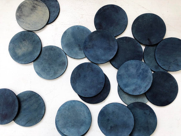 Hand-Dyed Indigo Leather Coasters (Set of 4)