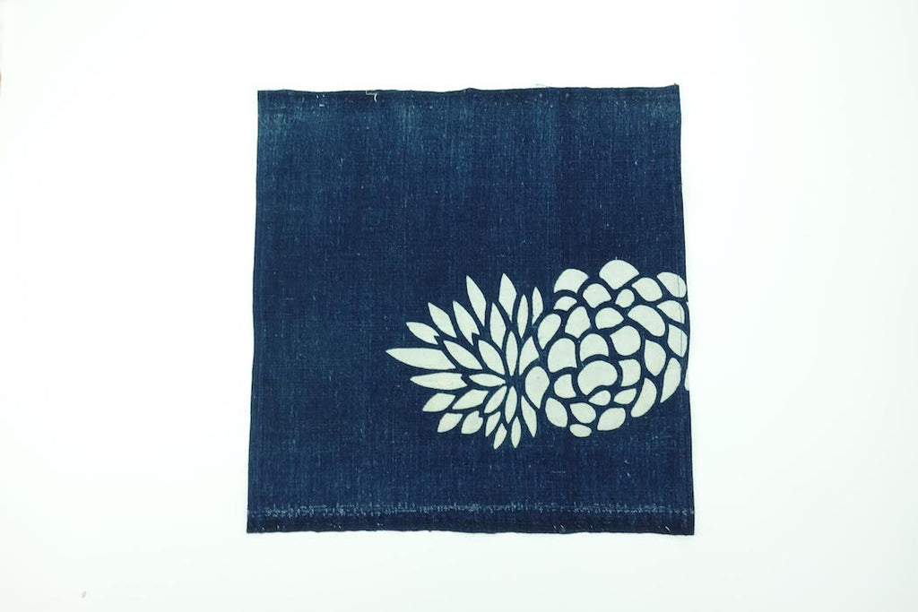 Katazome Pocket Square (Pine Cone)