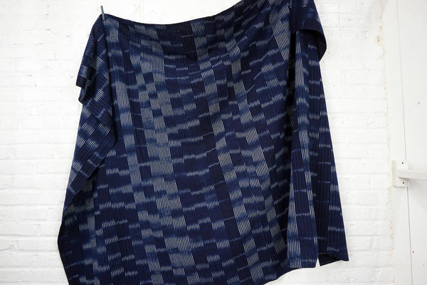 Bingo Kasuri Large Throw -  Random Indigo Stripes -