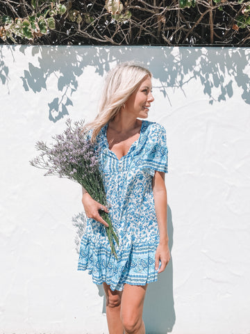 Mya Mini Dress in Lagoon