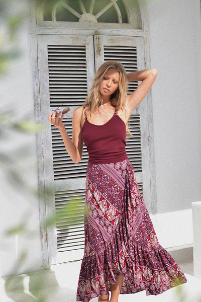 Boheme Wrap Skirt in Sangria