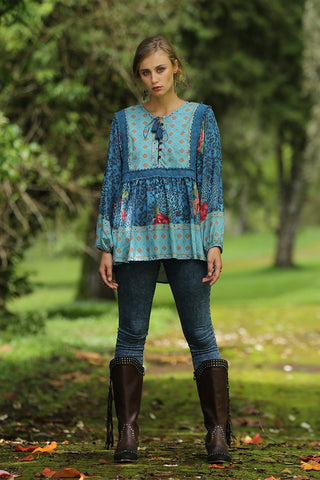 Sahara Boho Blouse Blue Moon