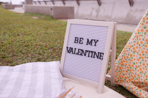 Letter board decoration at Valentine's Day Picnic Celebration Blogpost